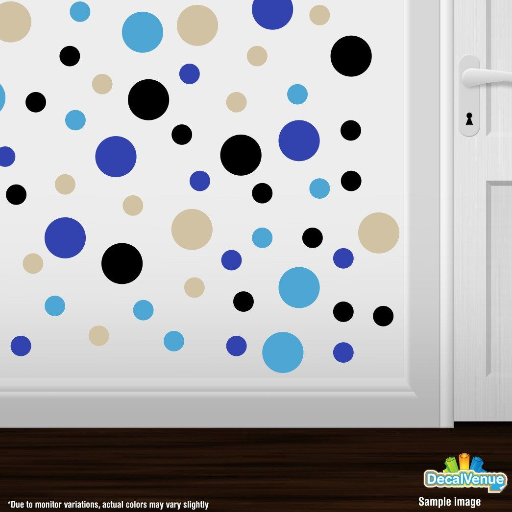 Beige / Blue / Black / Ice Blue Polka Dot Circles Wall Decals #decalvenue #decals #stickers