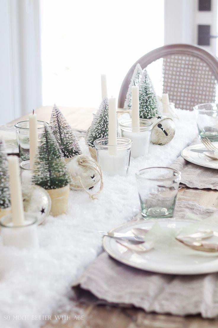 Christmas Tour Dining Room Diy Snowy Centrepiece Christmas Dining Table Decor White Christmas Decor Christmas Table Decorations