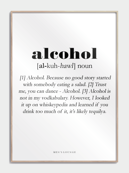 Alcohol Definitions Plakat Sjov Plakater Citater