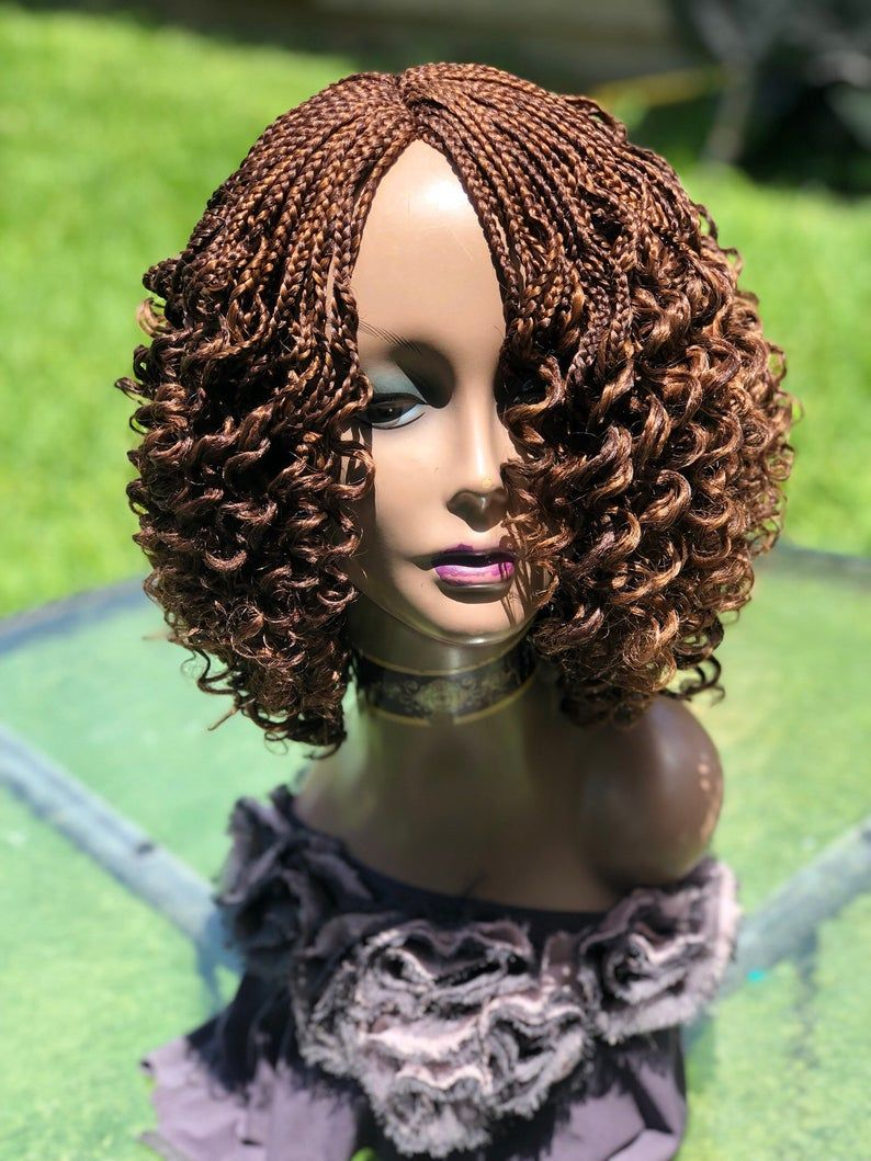 Braided curly wig the color on display is a mixture 3330