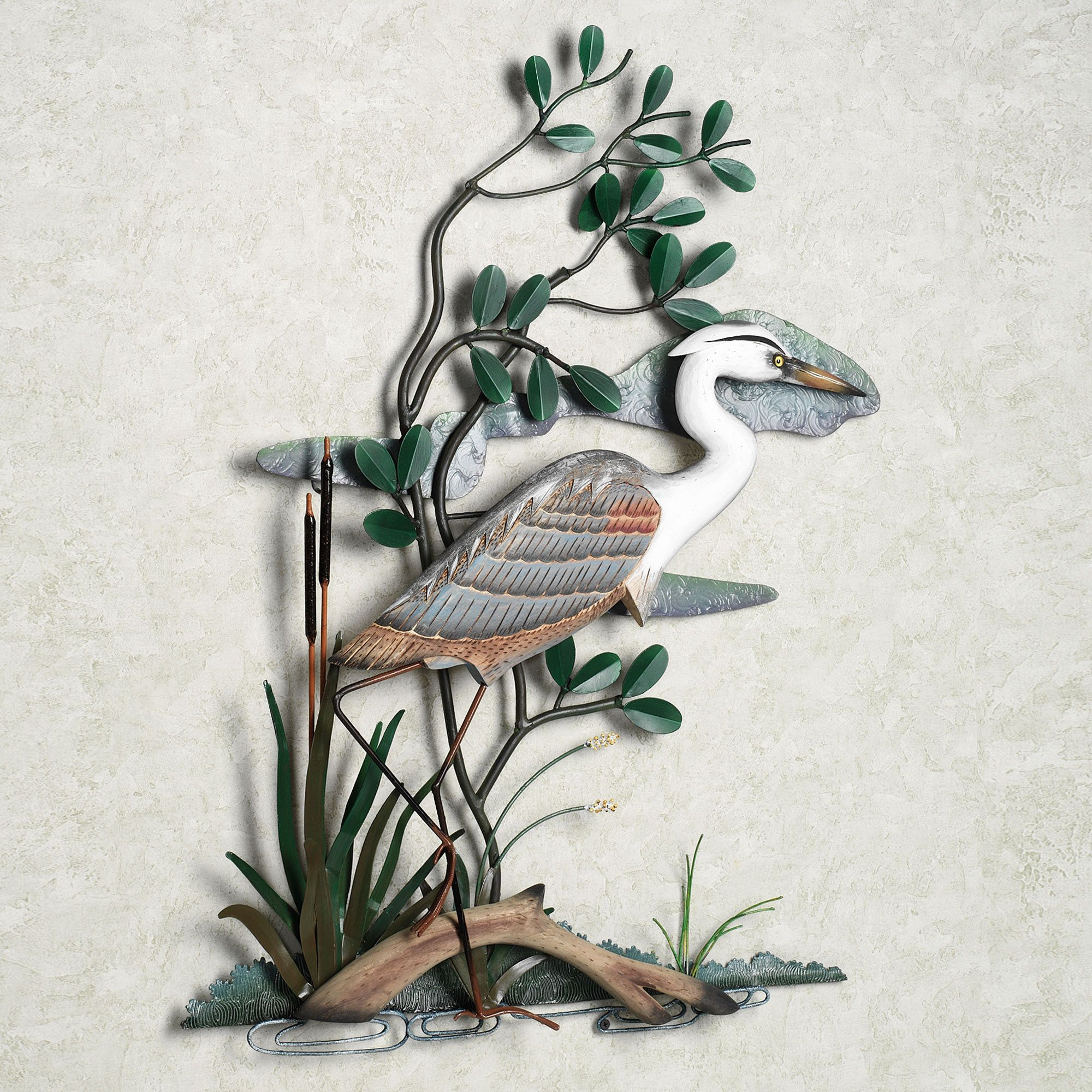 Outdoor Wall Sculptures Metal Great Blue Heron In Marsh Indoor Outdoor Wall Sculpture  Blue