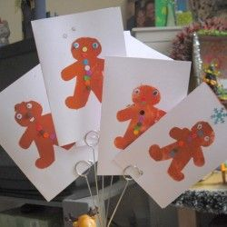 Gingerbread Men Stenciled Christmas Cards