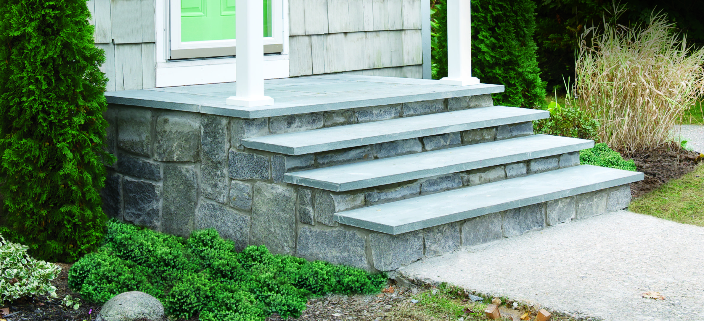 Overhaul Your Boring Concrete Porch With Bluestone And Natural Stone Veneers