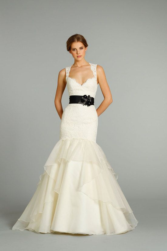 Offbeat Jim Hjelm Wedding Gown With A Black Sash Onewed Wedding