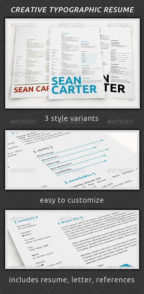 Creative Typographic Resume Set by atrainone Resumes are two-edged