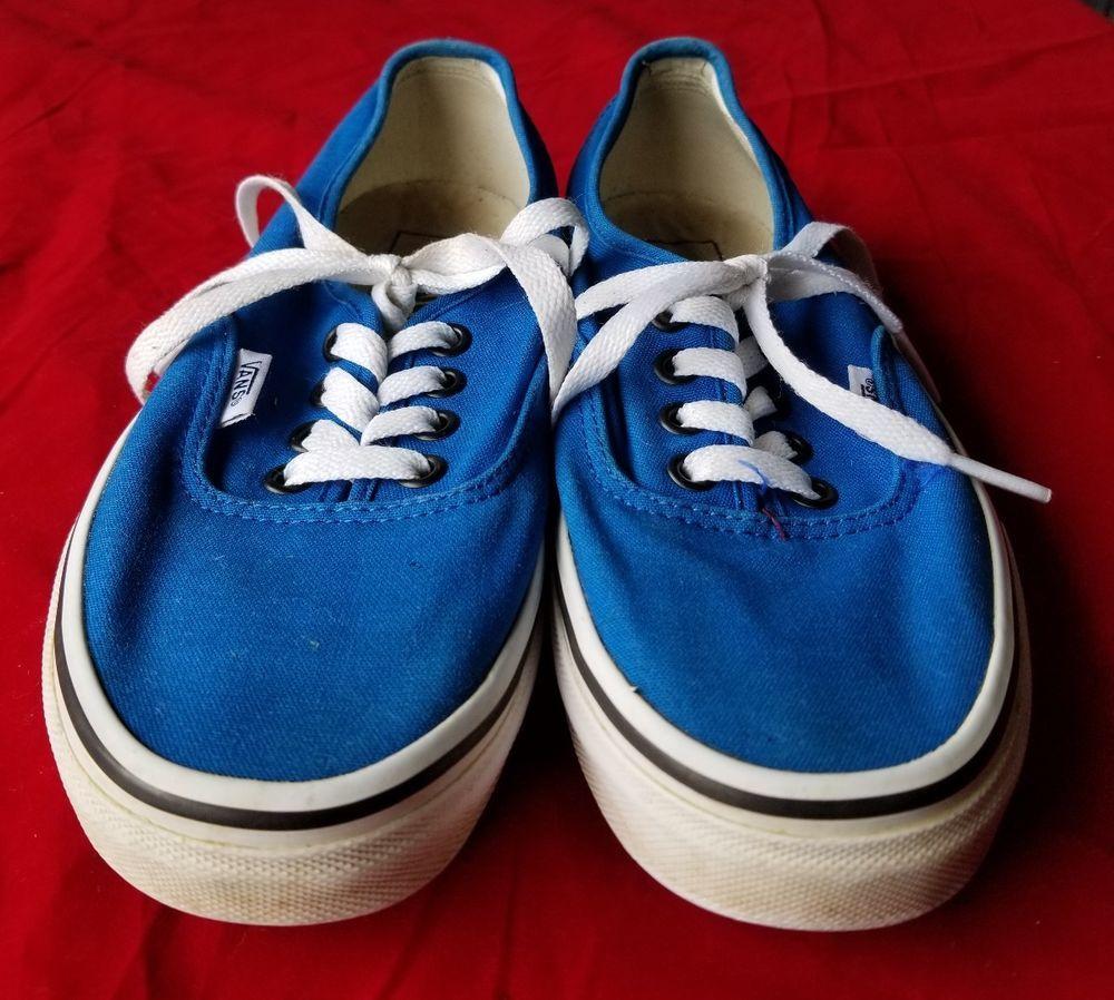 c7ce6df8139 Vans Off the Wall Canvas Womens 6 Men Boys 4.5 Blue EUC  fashion ...