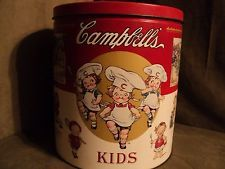 """""""Campbell's Kids"""" Old Popcorn Tin - 10"""" diameter x 11"""" tall -""""Old Rhymes on Can"""""""