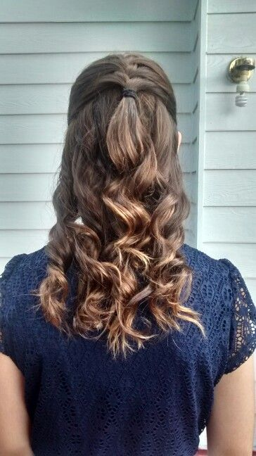 Formal Half Up Half Down French Braid With Curls Braids With Curls Half French Braids French Braid Hairstyles