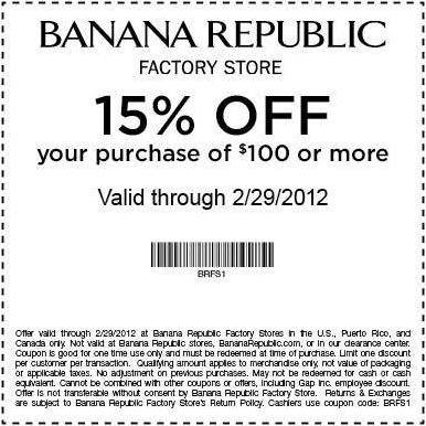 15 off Banana Republic Factory Stores! (With images