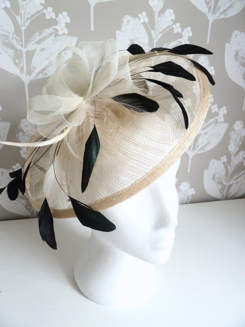 472767d3a15e7 Cream and black fascinator on headband. Ivory cream saucer wedding ...
