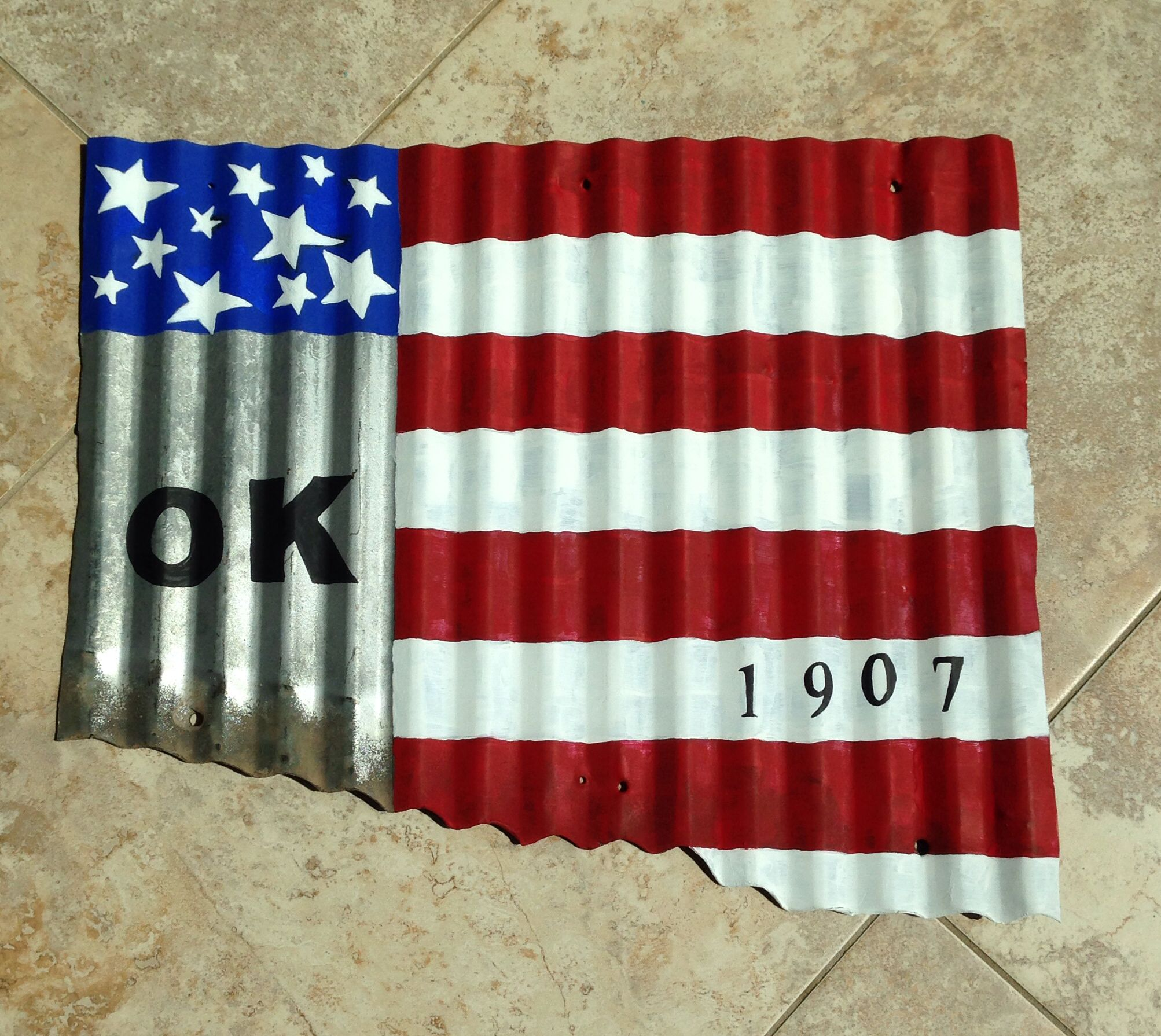 872ca91703c7 Oklahoma painted with acrylics using American flag design on corrugated  metal rescued from an old cow