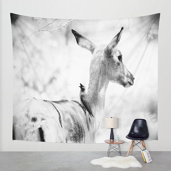 Deer wall art, deer tapestry, photo tapestry, large wall hanging, black and white decor, nature decor, oversized art, rustic decor, deer art by SophieMakesFabrics on Etsy