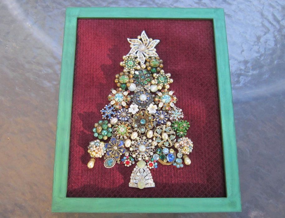 Vintage Jewelry Framed Christmas Tree Standing Decoration Or Wall