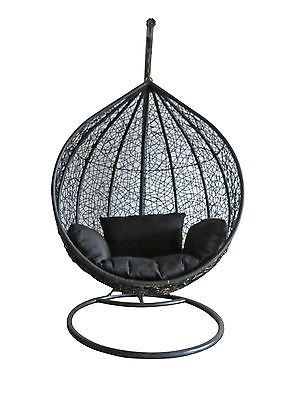 Bn Wicker Hanging Swing Egg Chair Rattan Indoor Outdoor Pod Black Ball Chair New Swinging Chair Swing Chair Outdoor Pod Chair