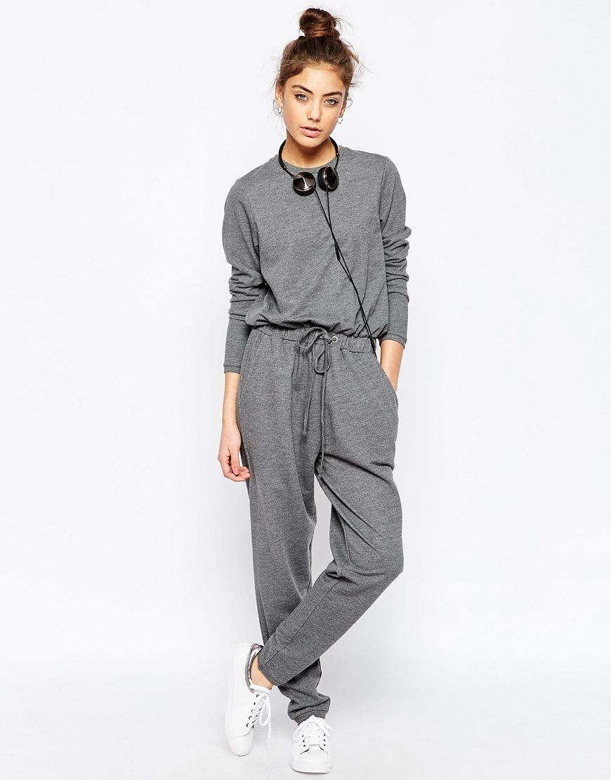 ASOS Jersey Jumpsuit with Long Sleeves and Drawstring Waist in Sweat at asos .com