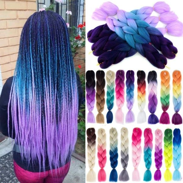 1 Piece100g 24inch Kanekalon Jumbo Braiding Hair Crotchet Braids Braiding Hair Synthetic Hair Extensions(100 Colors)   Wish