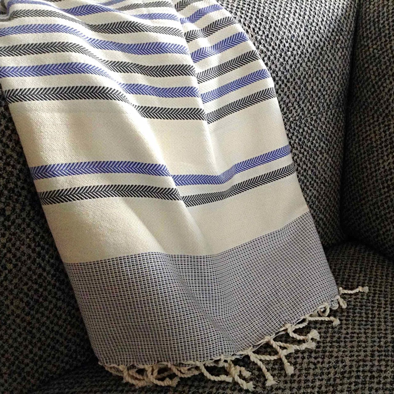 Fouta Tunisienne De Plage Chevron Adgart Fabric Weaving Linen