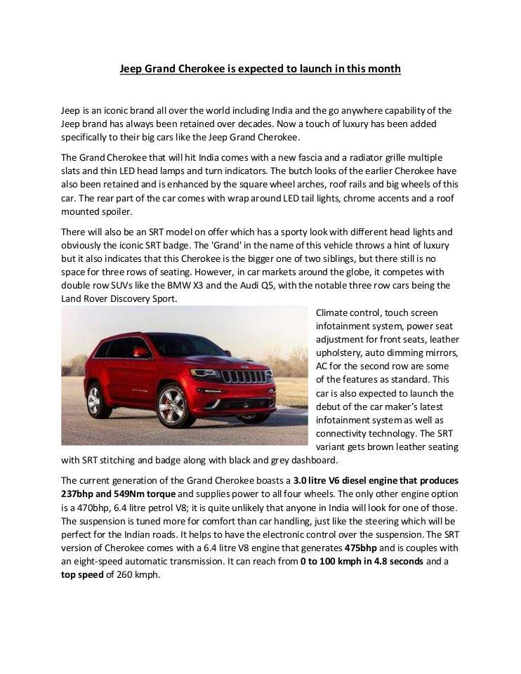 Jeepgrandcherokee Is Expected To Launch In This Month Published
