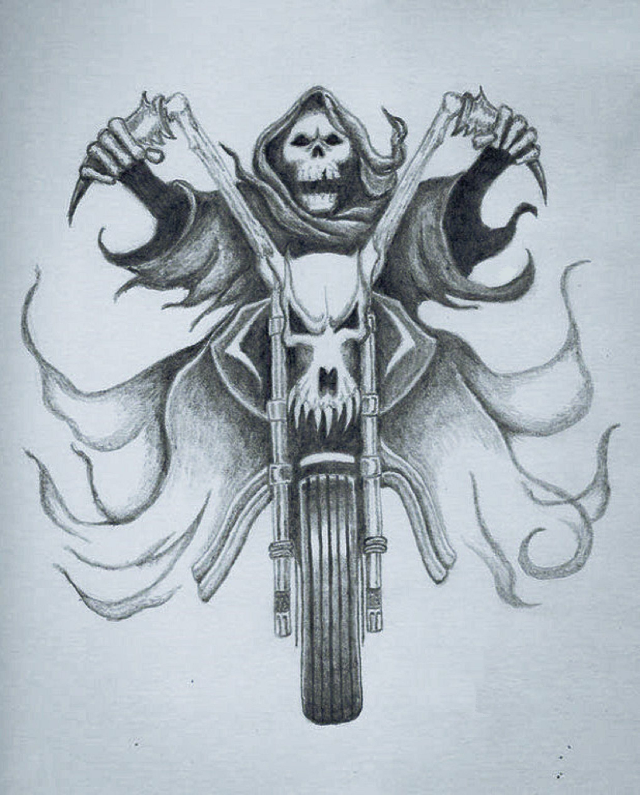 Skeleton Riding Bike Tattoo Design.