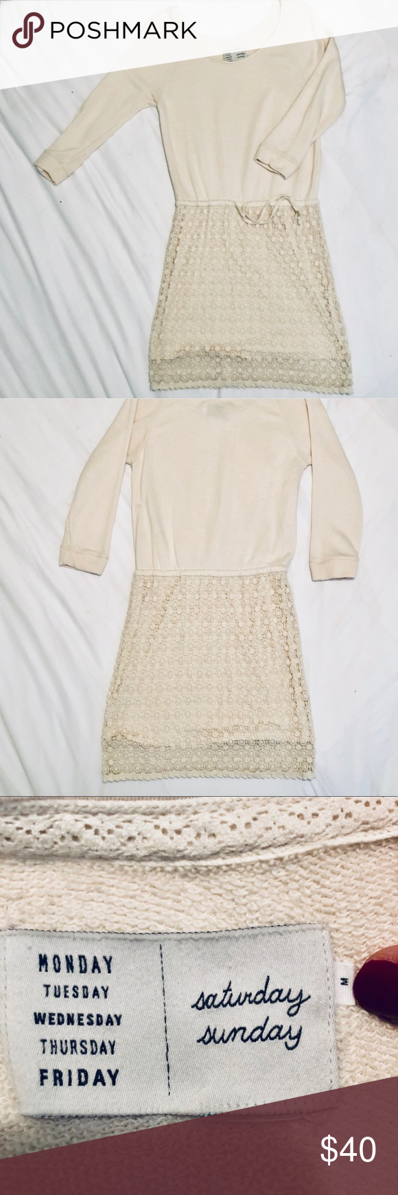 eaf78400574d Saturday Sunday Casual Dress Anthropologie Saturday Sunday Ceridwen Tunic  Dress. Cream knit long sleeve top. Lined lace overlay bottom. Tie waist. Size  M. ...
