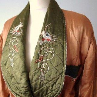 1940s quilted satin Oriental smoking jacket £75