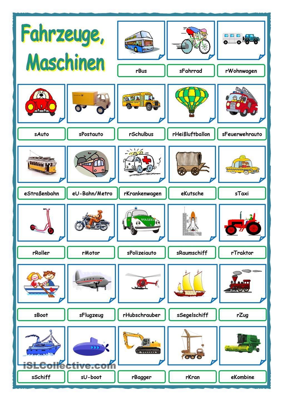 Fahrzeuge, Maschinen | German, Language and German language
