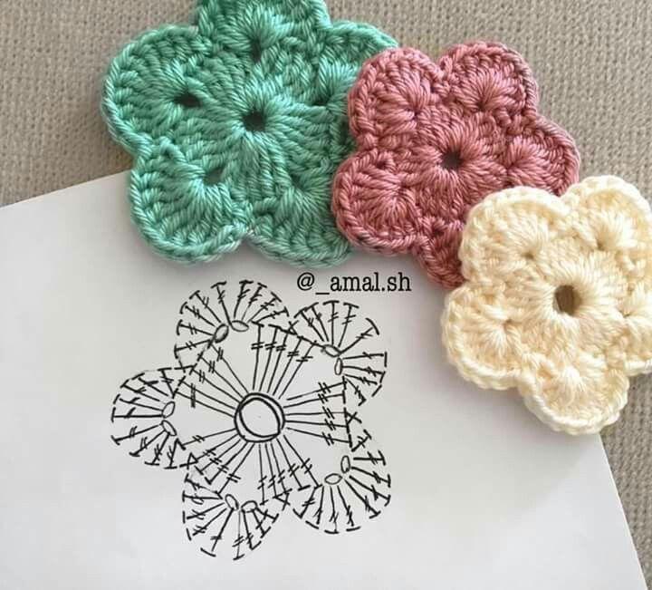 Square flor filé | Fieltro | Pinterest | Ganchillo, Flores y Tejido