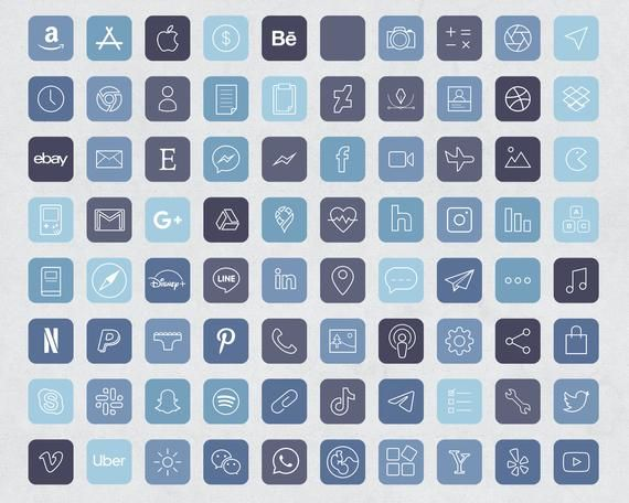 90 Storm Blue Aesthetic iOS 14 App Icons / Social