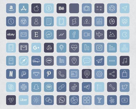 640 storm blue aesthetic ios 14 app icons social media