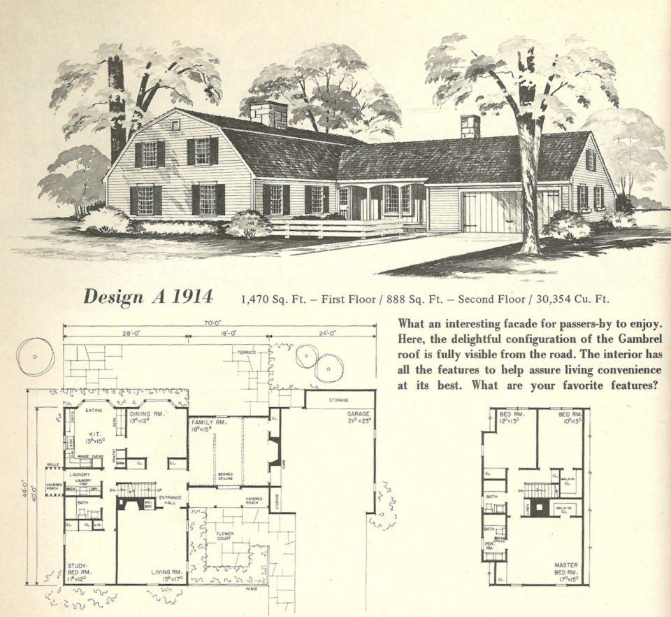 Vintage Home Plans Gambrel 1914 Mid Century Modern House Plans Vintage House Plans Vintage House