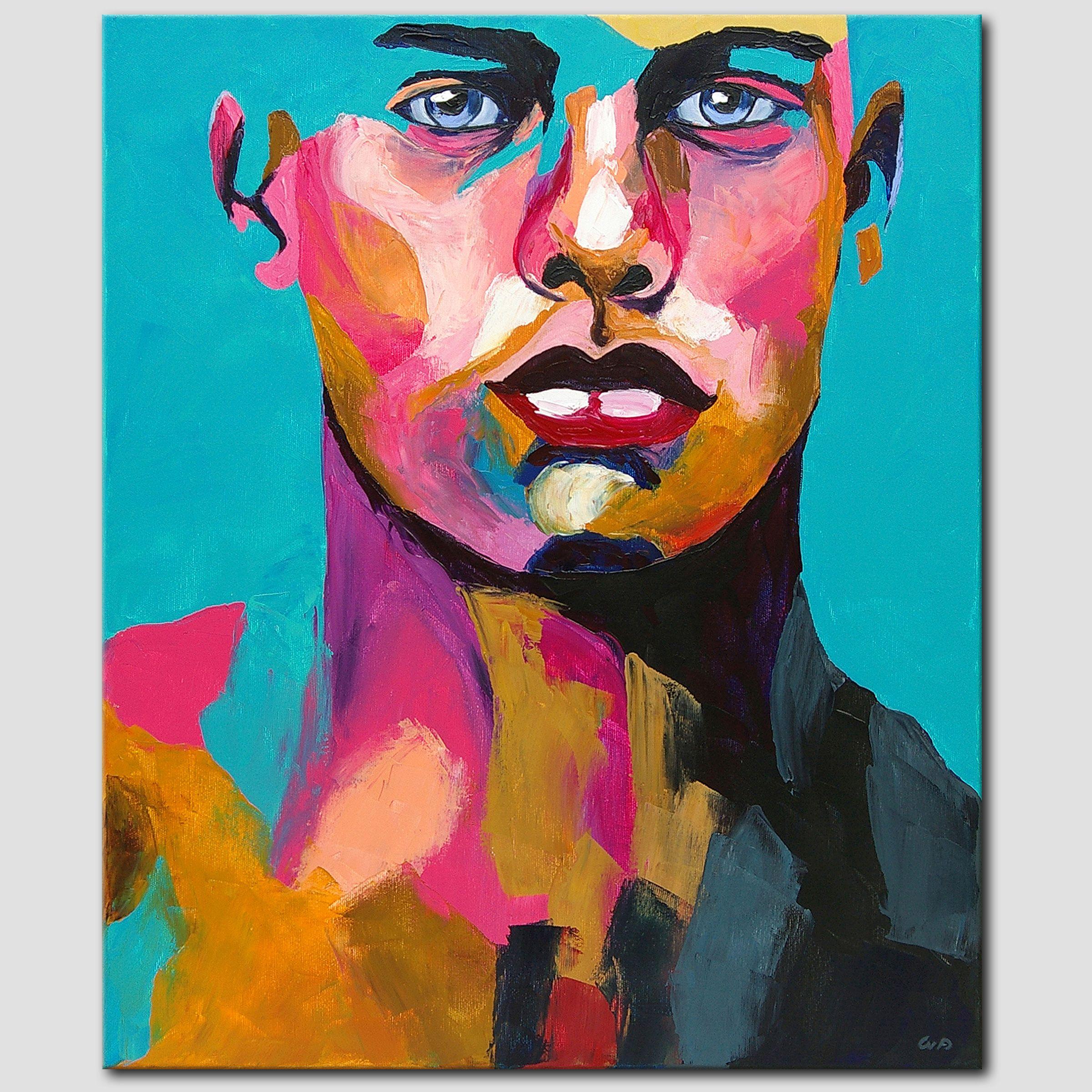 Novaarte Acryl Bild Kunst Original Abstrakt Malerei Portrait Mann Acryl Gemälde Modern Handgemalt Malerei Abstrakte Kunst Gemälde Abstrakt