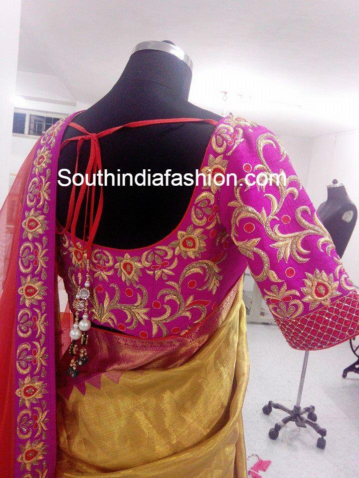 Gold Kanjeevaram Saree And Designer Blouse Saree Wedding Saree