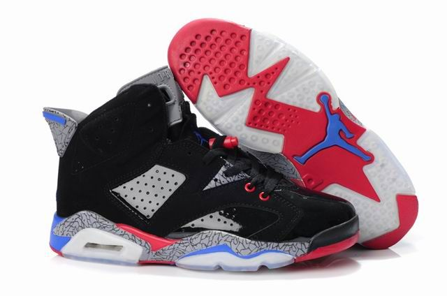 promo code 188d3 0bcd1 Mens Black Grey Red Blue Air Jordan Retro 6 Leopard Shoes 97563