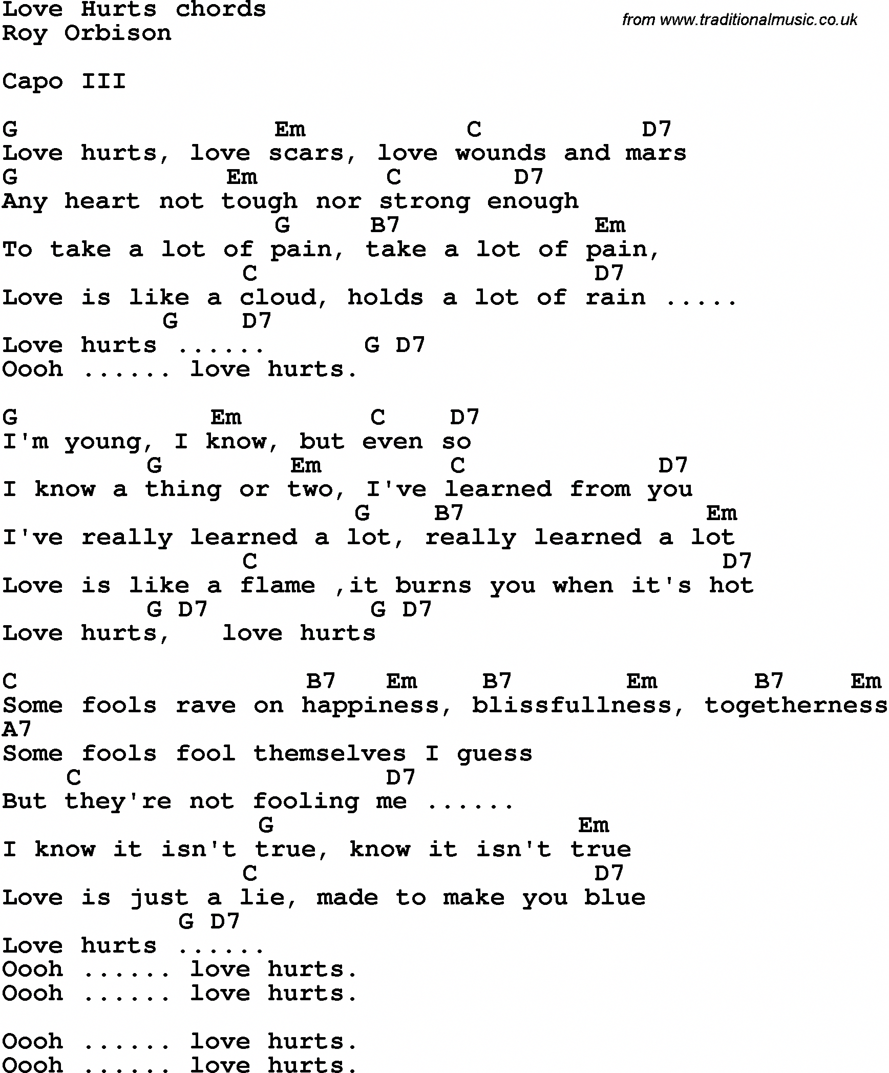 Song Lyrics With Guitar Chords For Love Hurts Roy Orbison Guitarchords Guitar Chords And Lyrics Guitar Chords For Songs Easy Guitar Songs