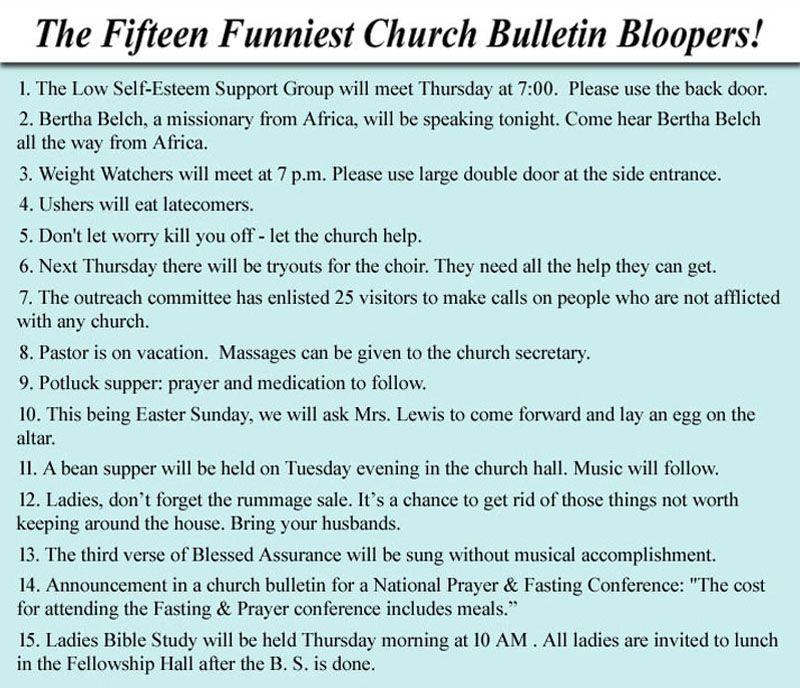 Church Bulletin Bloopers Okay So The Last One Is Kinda