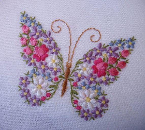 VINTAGE Floral mariposa bordado pañuelo / no usado con originales pliegues