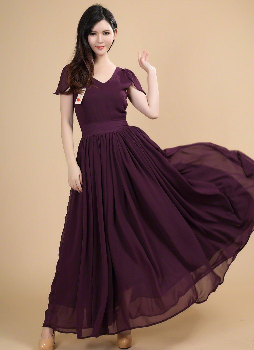 Dark purple maxi length chiffon prom dress with modest v neckline