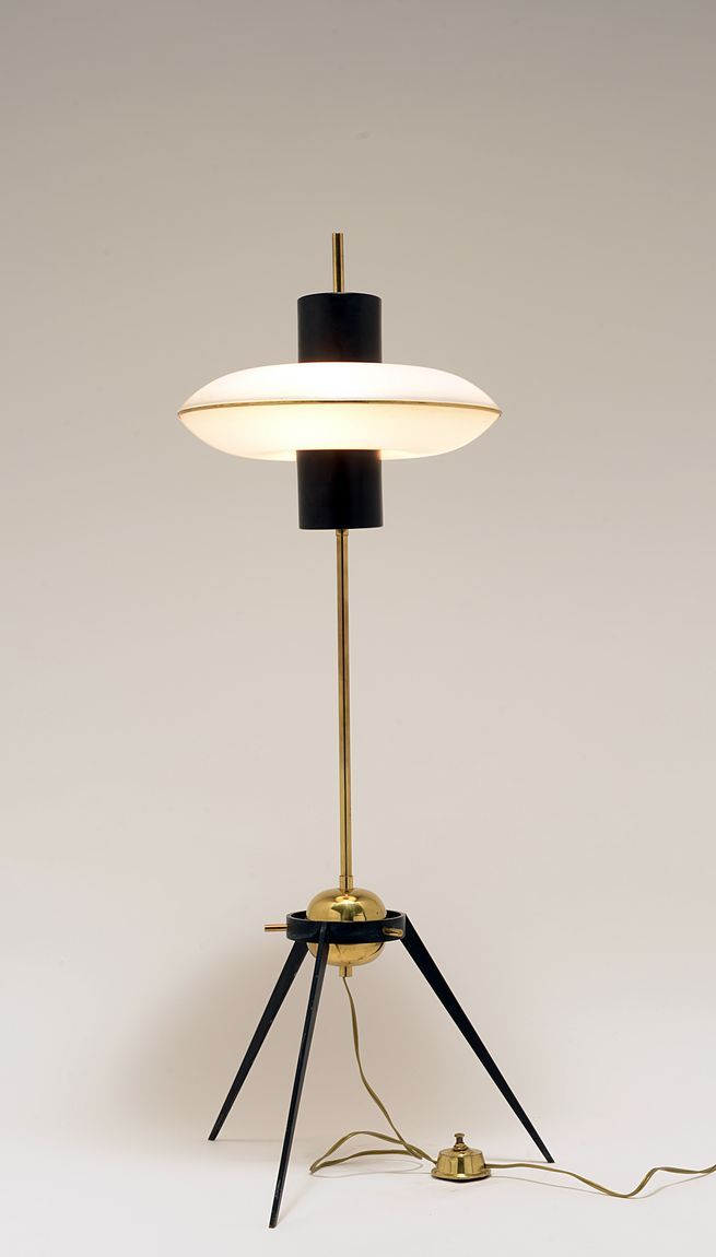 2019 Floor Lamps, Brass and Enameled Metal Floor Lamp 1950s: in 2019