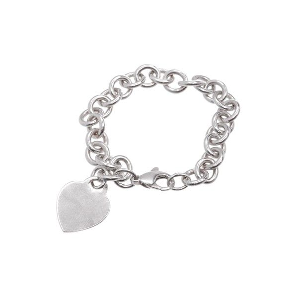 Pre Owned Tiffany Co Sterling Silver Heart Tag Charm Bracelet 160