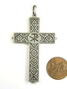 QUALITY ANTIQUE ITALIAN SILVER MICROMOSAIC CROSS PENDANT c1880 NO RESERVE