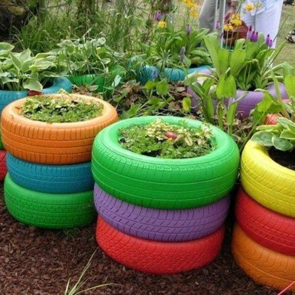 Gartendeko-selber-machen-Reifen-mit-Blumen Garden Pinterest - gartendekoration aus holz