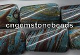 Twisted rectangle dyed stripe jasper gemstone beads