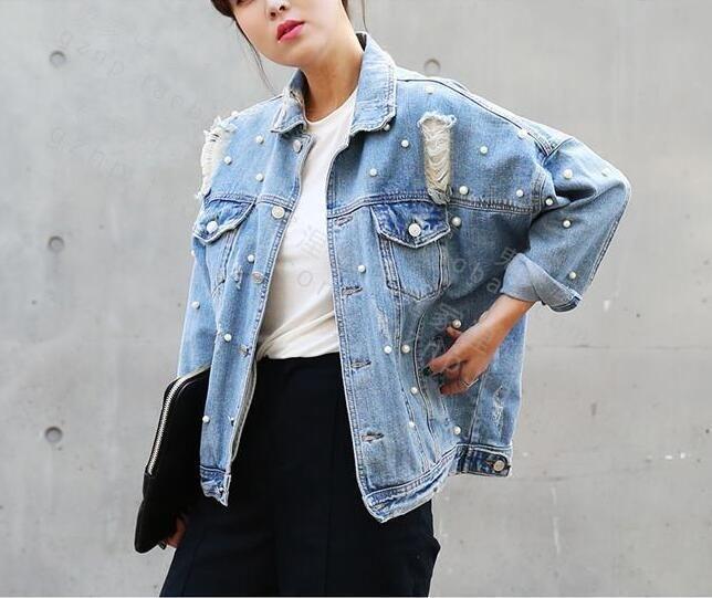 Women/'s Long Sleeve Ripped Hole Denim Jacket Coat Short Jacket Outwear  Fashion