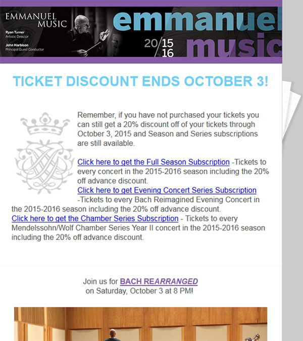 Emmanuel Music Email Blast Reminder About Ticket Sales Discount