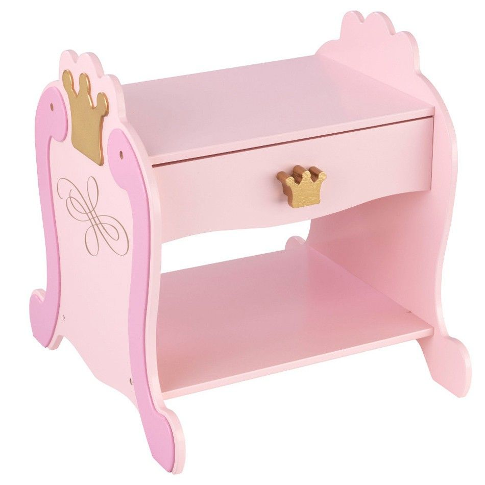 Si Votre Enfant Ne Jure Que Par Le Rose Alors Cette Table De Chevet Princesse Est Faite Pour Elle Habillee De Belles Couronne Step Stool Toy Chest Baby Room