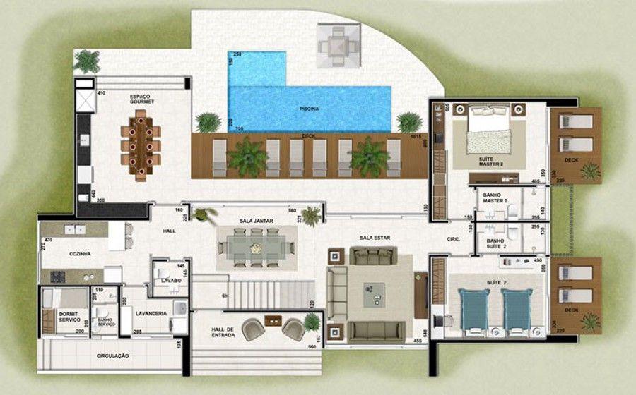 110 projetos de casas Modelos para construção House, Architecture - maison de 100m2 plan
