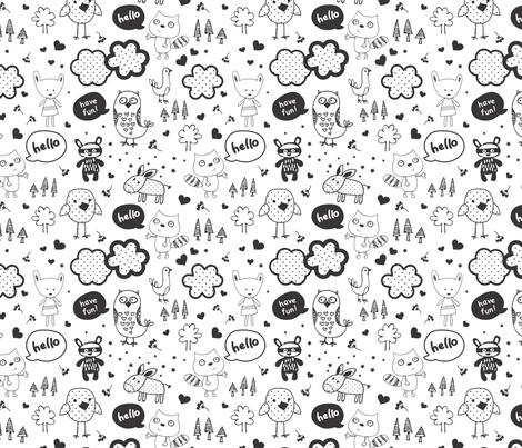 everybody says hello black fabric by minkypnoo on Spoonflower - custom fabric
