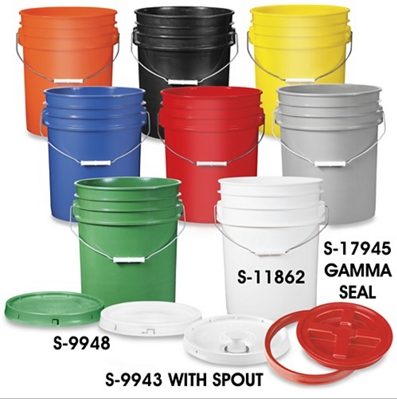 4 Buckets Labeled Spring Summer Winter And Water Available In Minimum Of 5 From Uline For Food Grade Buckets Plastic Pail Plastic Buckets