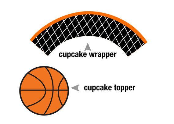 Printable Basketball Cupcake Topper And Cupcake By