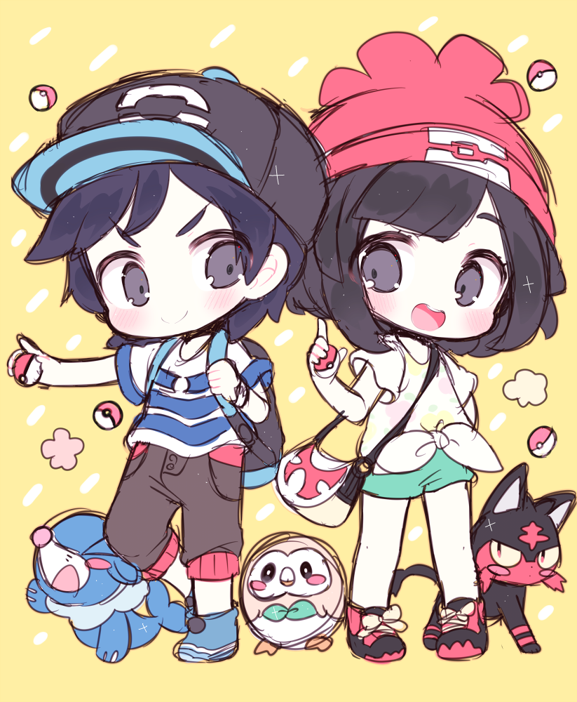 Pokémon Sun and Moon Starters Litten, Rowlet, and Popplio